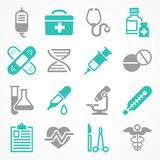 Medical icons in grey blue. Medical icons on white, medicine symbols in grey blue, medical. Vector illustration Stock Images