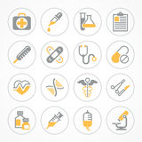 Medical icons in yellow. Medical icons on white background, medicine symbols in yellow, medical. Vector illustration Royalty Free Stock Photography