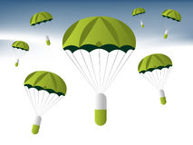 Medical illustration. Pills parachuter in the sky, medical and insurance concept Royalty Free Stock Photos