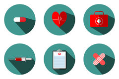 Medical Illustrations Include: Blood Bags, Test Tubes, Syringes, Heart Pumps. Pasteur First Aid Box, Treatment Table And Medicine Stock Photography
