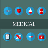 Medical illustrations include: blood bags, test tubes, syringes, heart pumps. Pasteur first aid box, treatment table and medicine. Can be used in various media Stock Photos