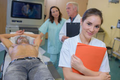 At medical imagery centre. At the medical imagery centre stock photo