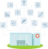 Medical infographic concept with hospital building and icons. Abstract medicine concept with hospital building and flat icons