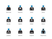 Medical infographic duotone icons on white background. Royalty Free Stock Photo