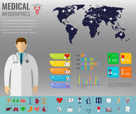 Medical Infographic set with charts and other elements. Vector Royalty Free Stock Photo