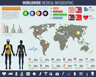 Medical Infographic set with charts and other elements. Vector illustration. Royalty Free Stock Photo