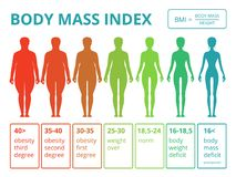 Medical infographics with illustrations of female body mass index.. Medical infographics with illustrations of female body mass index. Scales from fat to Royalty Free Stock Image
