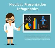 Medical Infographics Presentation. Female doctor Stock Photography