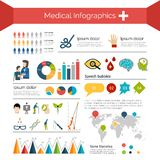 Medical Infographics Set. With human anatomy healthcare symbols charts and world map vector illustration Royalty Free Stock Photography