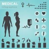 Medical infographics. Set of medical icons on blue green background royalty free illustration