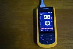 Medical instrument, digital handheld blood oxygen detector use to monitoring blood oxygen of patient in hospital. Medical device, digital handheld blood oxygen royalty free stock photos