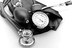 Medical instrument Stethoscope blood pressure. Tight shot medical equipment instrument stethoscope on white background blood pressure machine Royalty Free Stock Photo