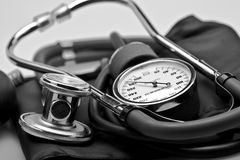 Medical instrument Stethoscope blood pressure Stock Image