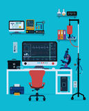 Medical instruments. And devices with a blue background Royalty Free Stock Images