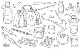 Medical instruments and doctor bag, pills and medicine bottles. royalty free stock images