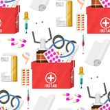 Medical instruments doctor tools medicament seamless pattern background cartoon style medication hospital health Stock Photos