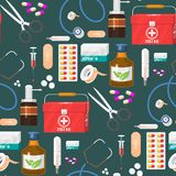 Medical instruments doctor tools medicament seamless pattern background cartoon style medication hospital health. Medical instruments and doctor tools medicament Royalty Free Stock Image