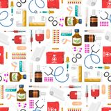 Medical instruments doctor tools medicament seamless pattern background cartoon style medication hospital health. Medical instruments and doctor tools medicament Stock Images