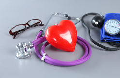 Medical instruments for ENT doctor on white Stock Photography