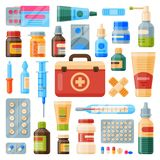 Medical instruments first-aid set outfit medicine chest and doctor tools flat medicament medication hospital health. Treatment vector illustration Royalty Free Stock Photography