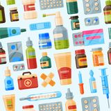 Medical instruments first-aid set outfit medicine chest and doctor tools flat medicament medication hospital health. Treatment vector illustration seamless Stock Photos