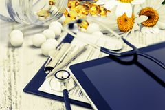 Medical instruments. Alternative sick closeup table green diet royalty free stock photo