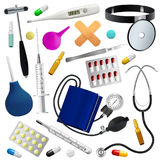 Medical instruments and preparations set. Medicine and health. Isolated objects. White background. Stock Image
