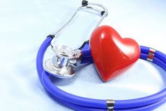 Medical instruments, stethoscope and red heart closeup shot Royalty Free Stock Photography