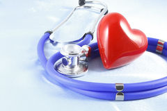 Medical instruments, stethoscope and red heart closeup shot Royalty Free Stock Photo