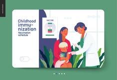 Medical insurance template - childhood immunization. Medical insurance -childhood immunization, vaccination -modern flat vector concept digital illustration stock illustration