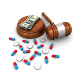 Medical insurance concept. With a judge gavel, pills, and money (3d render Stock Photos