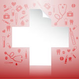 Medical insurance concept. White icon new document over medical healthcare insurance icons Stock Photos