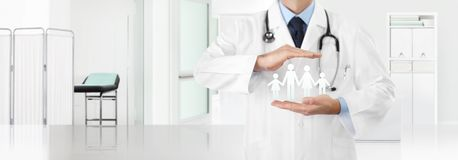 Medical insurance concept, doctor`s hands protect a family icon with the clinic in the background, copy space and web banner. Template royalty free illustration