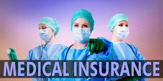 Medical insurance and doctor. Medical doctor in uniform with medical insurance text Stock Image