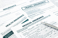 Medical insurance form. Paperwork and questionnaire for insurance concepts Royalty Free Stock Image