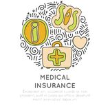 Medical insurance hand draw cartoon icon concept. Information, sos and first aid icon in round form with decorative. Elements. Medical help in travel icon Stock Photography