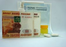 Medical insurance policy Russia, money, medicines....... stock photo