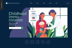 Medical insurance template - childhood immunization. Medical insurance -childhood immunization, vaccination -modern flat vector concept digital illustration royalty free illustration
