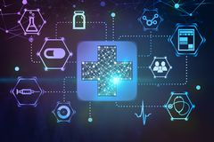 Medical interface with blue first aid sign. Immersive medical interface made of blue first aid sign and medical icons over dark blue and purple background. 3d stock photography