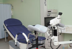 Medical interior. Gynecological chair, modern medical interior stock image