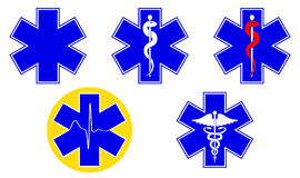 Medical international symbols set. Star of life, staff of Asclepius, caduceus, Vector. Illustration Stock Image