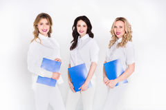 Medical internship, women in white uniform Stock Photography