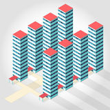 Medical isometric building - high-rise apartment. Nice medical isometric building - high-rise apartment Illustration for scientific article web blog and Royalty Free Stock Images