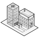 Medical isometric building. Hospital building. Isometric building. Outline isometric hospital. Royalty Free Stock Photography