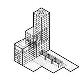 Medical isometric building. Hospital building. Isometric building. Outline isometric hospital. Stock Photography