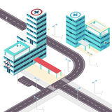 Medical isometric building. Hospital building. Isometric building. Outline isometric hospital. Royalty Free Stock Photo