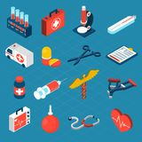 Medical Isometric Icons Stock Photo