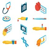 Medical isometric icons. Set with phonendoscope blood test dna isolated vector illustration Royalty Free Stock Image