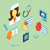 Medical isometric icons Royalty Free Stock Images