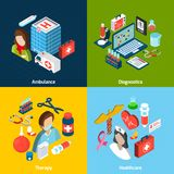 Medical Isometric Set. Medical design concept set with ambulance diagnostics therapy healthcare isometric icons isolated vector illustration Stock Images